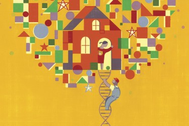 Illustration of climbing a DNA ladder to a treehouse
