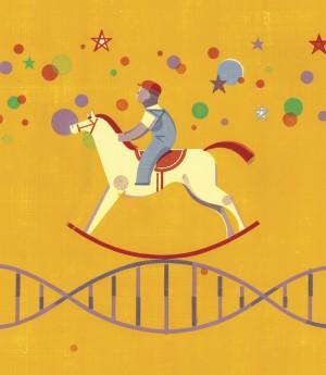 Rocking horse and DNA illustration