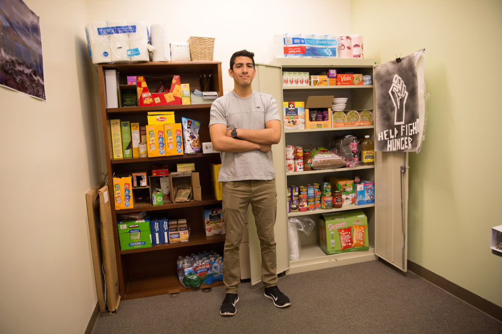 Bryan Montes, a second-year Kresge student studying computer science, is among the students working to set up one of UC Santa Cruz's food pantries for the academic year.