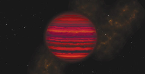 Artist's rendering of WiSE 0855 as it might appear if viewed up close in infrared light.
