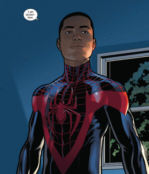 "New Spider-Man Miles Morales proudly proclaims, ""I am Spider-Man""."