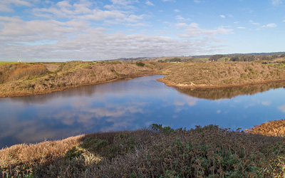 Younger Lagoon Reserve encompasses a seasonal lagoon, beach, and coastal prairie at the western end of Santa Cruz. (Photo by Clayton Anderson)